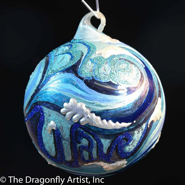 Art: Blue Wave Dragonfly Ball by Artist Rebecca M Ronesi-Gutierrez