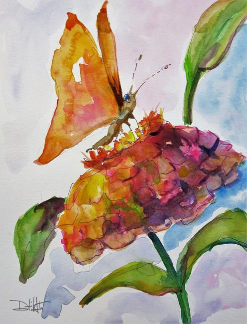 Art: Butterfly and Zinnia by Artist Delilah Smith