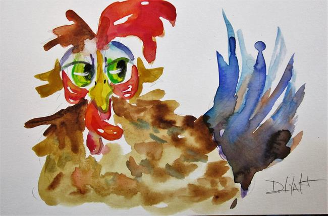 Art: Green Eyed Chicken by Artist Delilah Smith