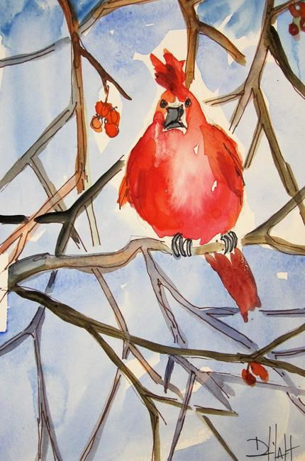 Art: Cardinal and Berries by Artist Delilah Smith