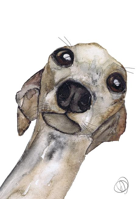 Art: GREYHOUND g9098 by Artist Dawn Barker