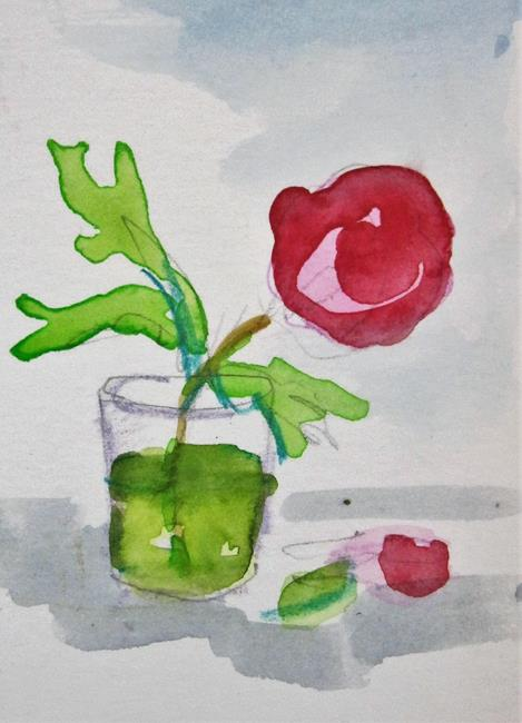 Art: Rose in a Glass by Artist Delilah Smith