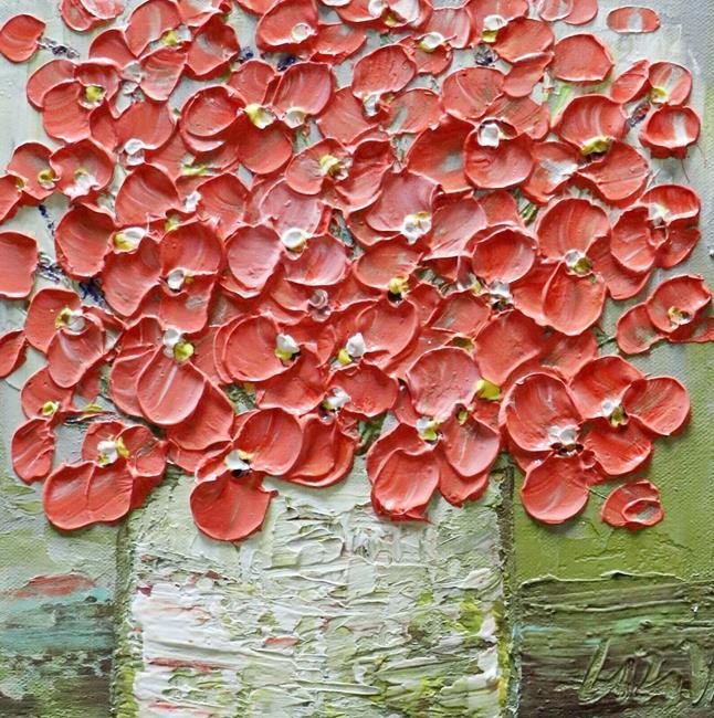 Art: Coral Color Flowers Bouquet by Artist LUIZA VIZOLI