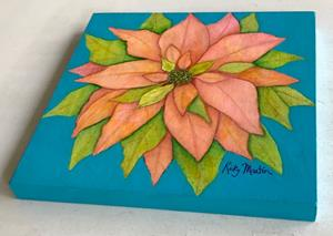 Detail Image for art Pink Poinsettia on cradled wood panel