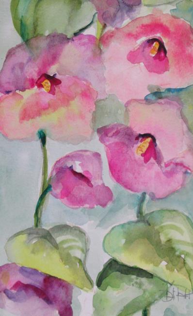 Art: Pink Hollyhocks by Artist Delilah Smith