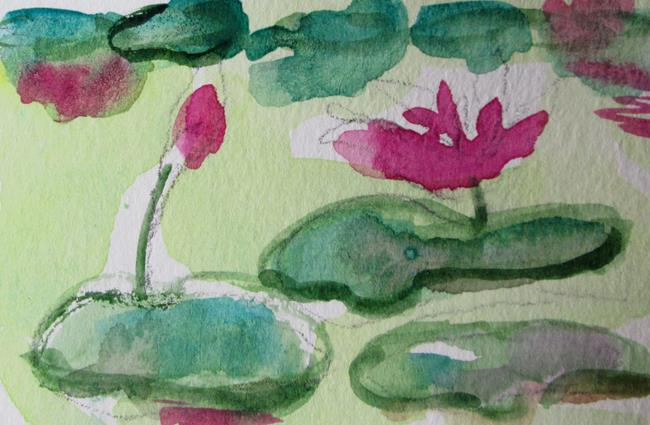 Art: Lily Pads amd Flowers by Artist Delilah Smith
