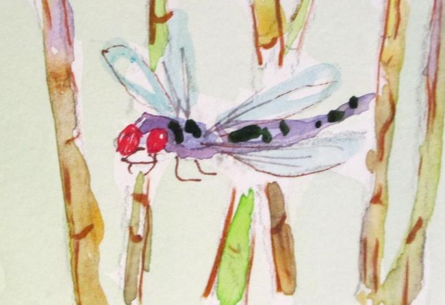 Art: Bamboo and Dragonfly by Artist Delilah Smith