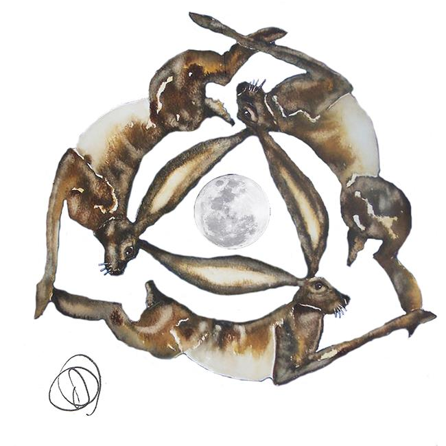 Art: HARE CIRCLE old6c by Artist Dawn Barker