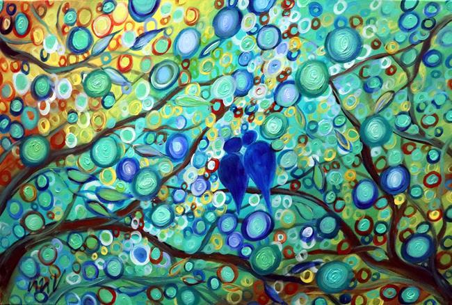 Art: Blue Lovebirds by Artist LUIZA VIZOLI