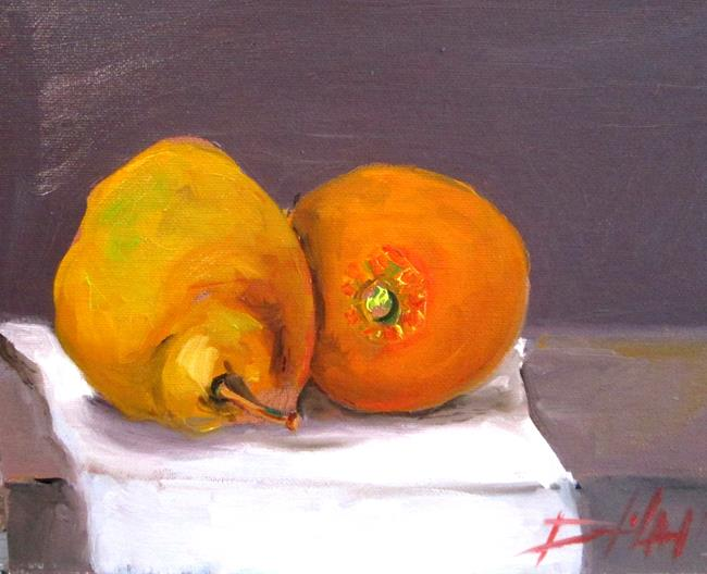 Art: Pear and Orange by Artist Delilah Smith
