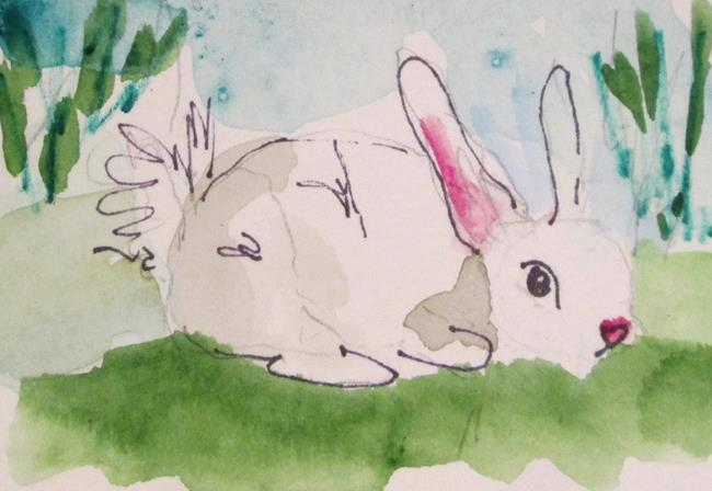 Art: White Rabbit by Artist Delilah Smith