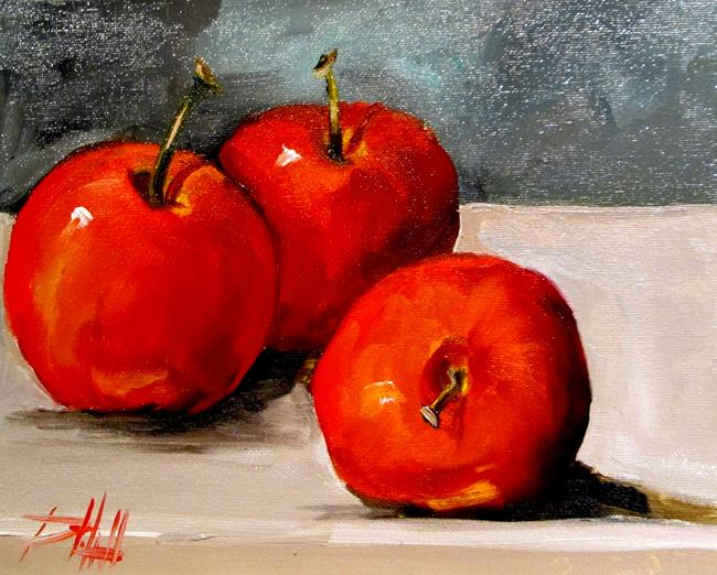 Art: Three Red Apples No. 4 by Artist Delilah Smith