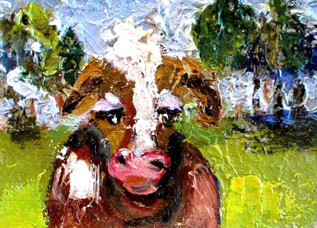 Art: Sad Cow Aceo by Artist Delilah Smith