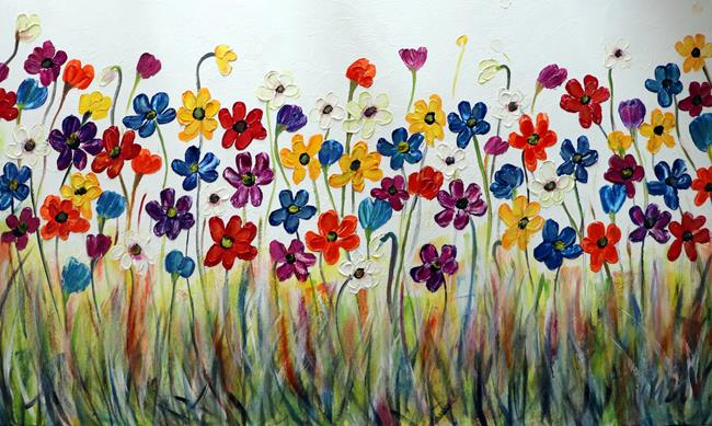 Art: Colorful Daisy Flowers by Artist LUIZA VIZOLI