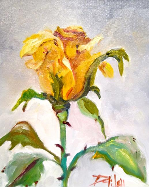 Art: Yellow Rose by Artist Delilah Smith