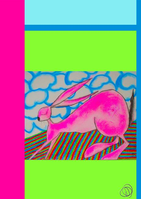Art: RUNNING HARE h1533 by Artist Dawn Barker