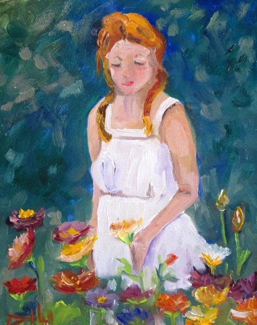 Art: Girl in the Garden=sold by Artist Delilah Smith