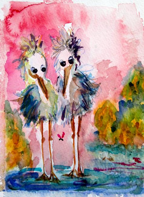 Art: Herons and Bug by Artist Delilah Smith