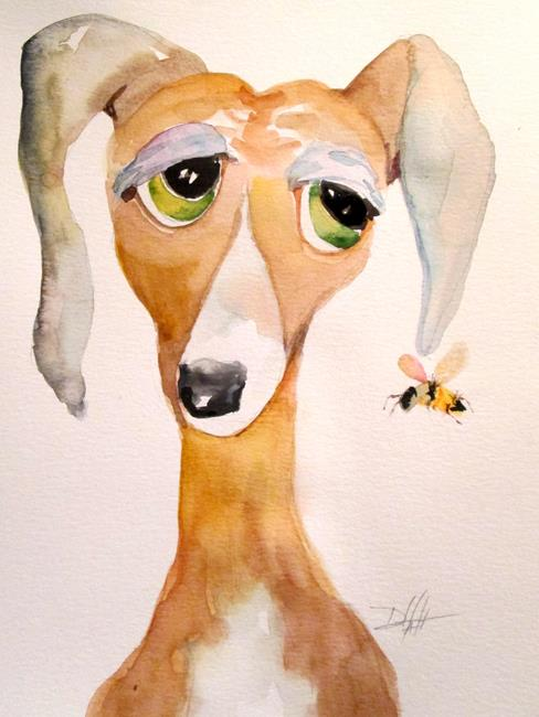 Art: Sad Dog and Bee by Artist Delilah Smith