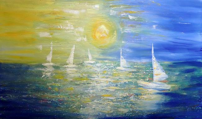 Art: SAILING in the SUNSET by Artist LUIZA VIZOLI
