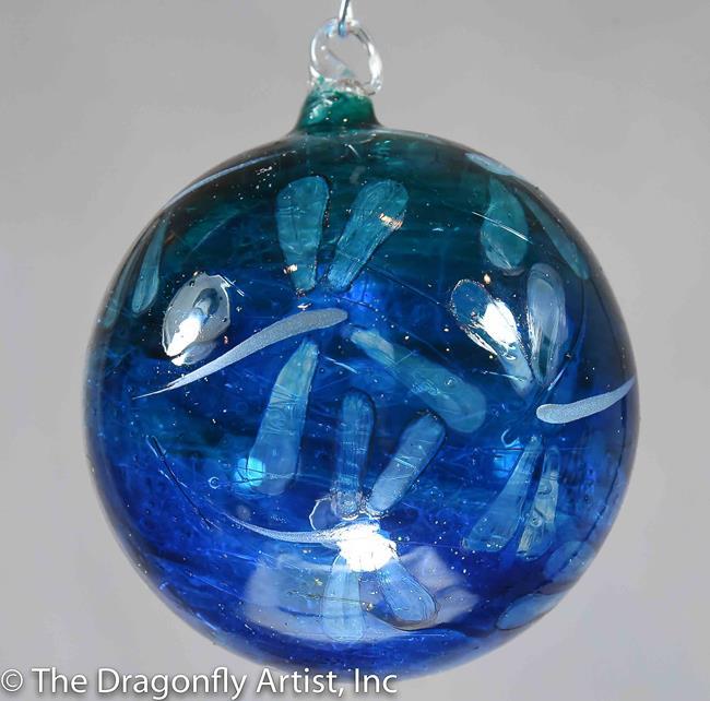 Art: Hand Blown Glass Ocean Blue Teal Ombre Dragonfly Ornament Sun Catcher by Artist Rebecca M Ronesi-Gutierrez