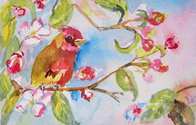 Art: Apple Blossom and Bird by Artist Delilah Smith