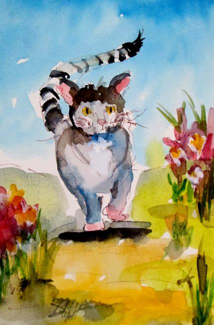 Art: Cat with Striped Tail by Artist Delilah Smith
