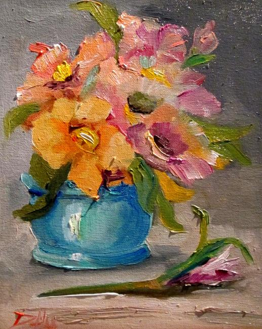 Art: Big Flowers in a Vase by Artist Delilah Smith