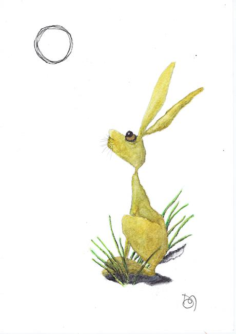 Art: MOONGAZING HARE h2249 by Artist Dawn Barker
