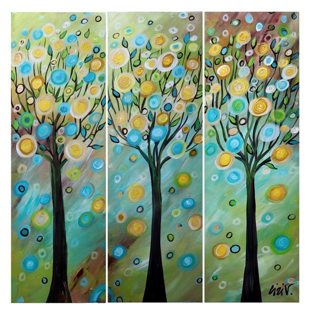 Art: FANTASY ART TREES in a WINDY DAY by Artist LUIZA VIZOLI