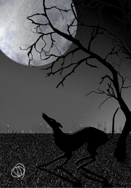 Art: GREYHOUND with MOON g707 by Artist Dawn Barker