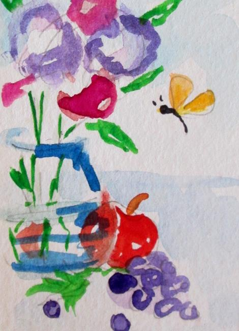 Art: Aceo Floral Still Life and Butterfly by Artist Delilah Smith
