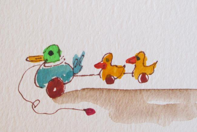 Art: Duck Pull Toy aceo by Artist Delilah Smith