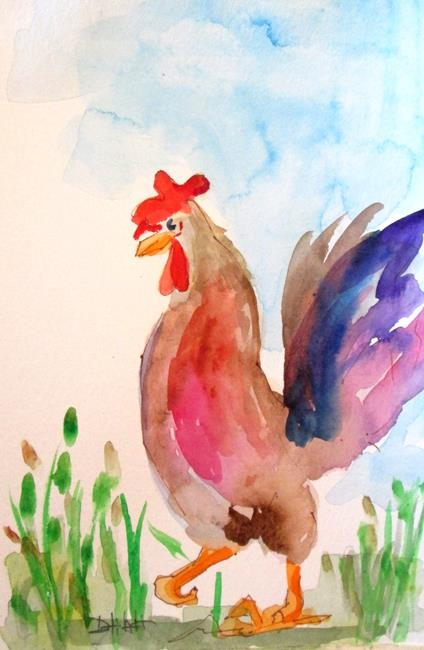 Art: Rooster in the Yard by Artist Delilah Smith