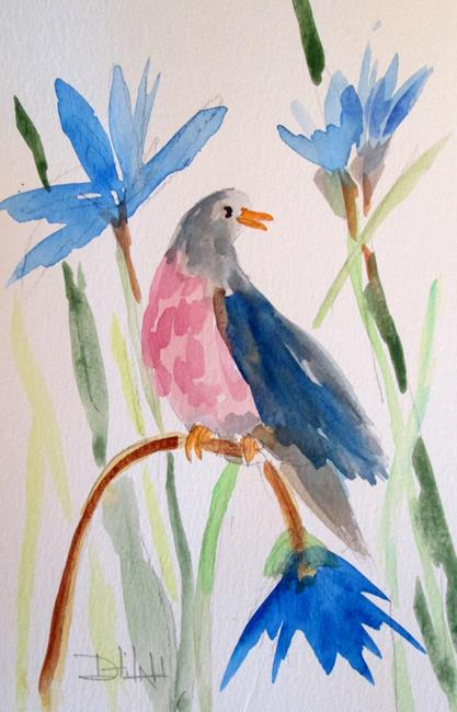 Art: Bird on a Flower by Artist Delilah Smith