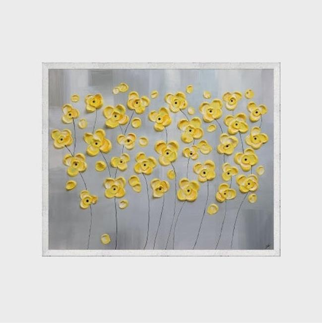 Art: Yellow Flowers on Gray (sold) by Artist Amber Elizabeth Lamoreaux