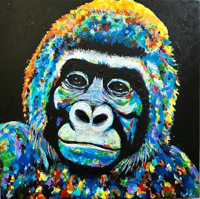 Art: Abstract Gorilla Portrait by Artist Ulrike 'Ricky' Martin