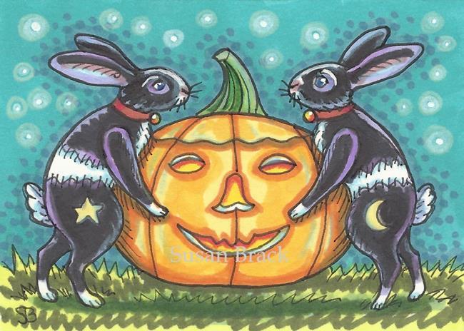 Art: BLACK JACKS AND THE GREAT  PUMPKIN Rabbits by Artist Susan Brack