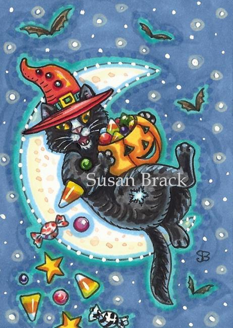 Art: BLACK CAT MOONBEAMS AND CANDY by Artist Susan Brack