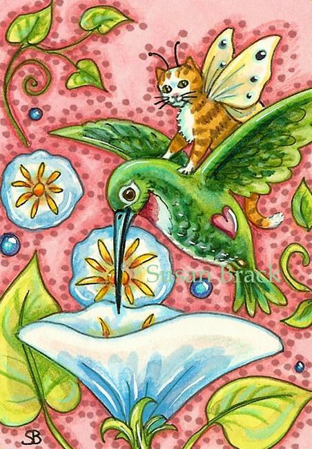 Art: SIP FROM A MORNING GLORY by Artist Susan Brack