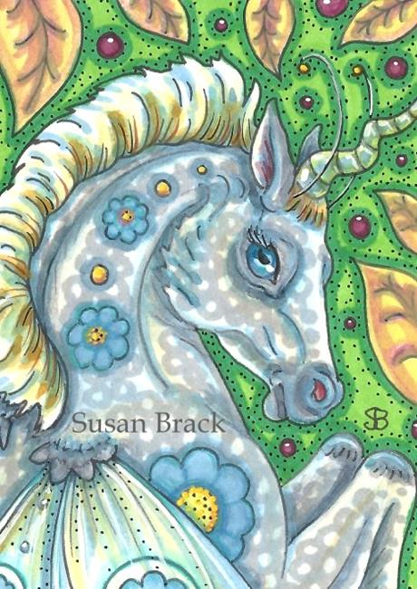 Art: DAPPLE GRAY AND BERRIES by Artist Susan Brack