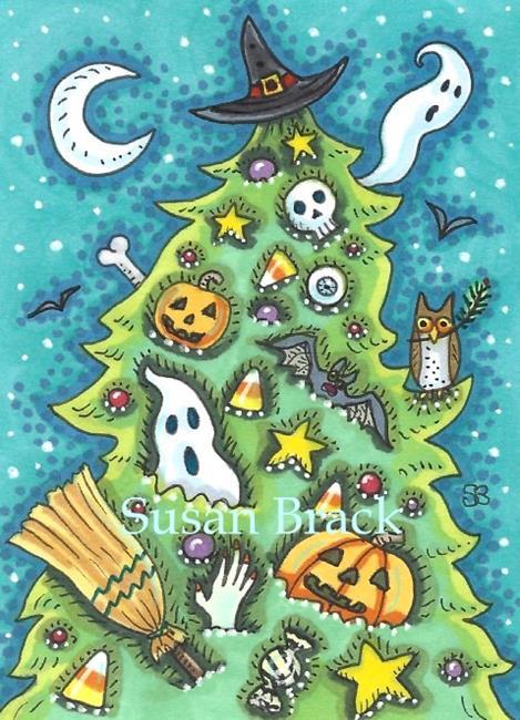 Art: HAPPY HALLOWMAS TREE by Artist Susan Brack