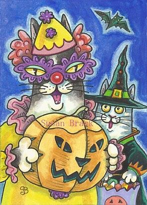 Art: HISS N' FITZ HALLOWEENIES Cats by Artist Susan Brack