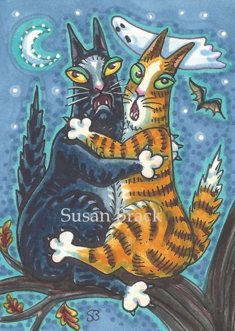 Art: HISS N' FITZ FRIGHT NIGHT Cats by Artist Susan Brack