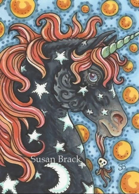 Art: MOON AND STARS HALLOWEEN STALLION Unicorn by Artist Susan Brack