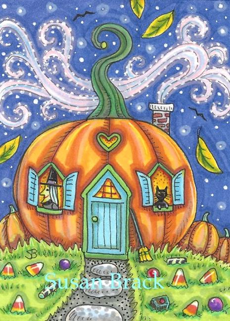 Art: PUMPKIN COTTAGE by Artist Susan Brack