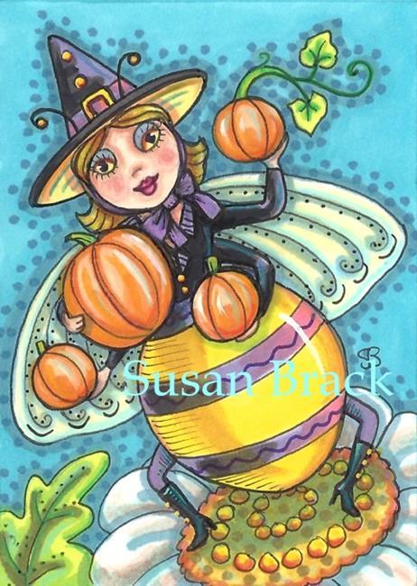 Art: QUEEN OF THE HALLOWEEN BEES by Artist Susan Brack