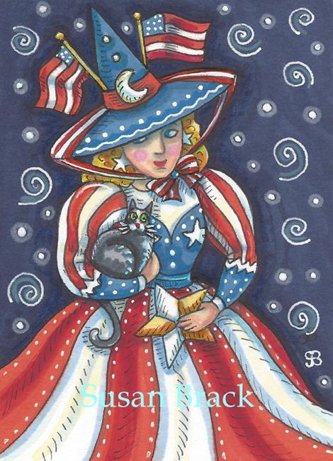Art: RED WHITE AND BLUE Witch by Artist Susan Brack