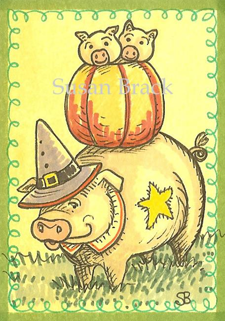 Art: SMILES ARE FREE PIG WITCH by Artist Susan Brack