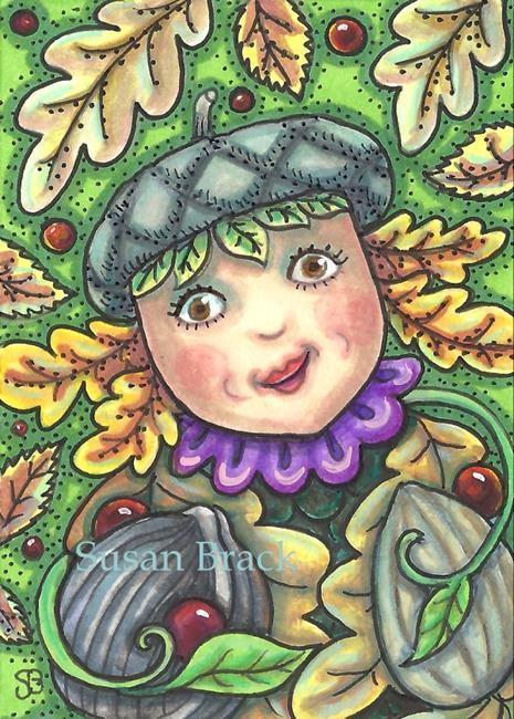 Art: ACORN GIRL AND NUTS by Artist Susan Brack